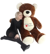 Riesen Teddybär Plüschtier Stofftier mit Herz Stickerei braun 170cm