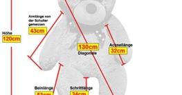 XXL Riesen-Kuschel-Teddybär groß in Weiß