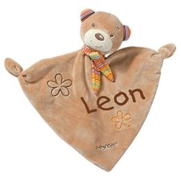 Fehn 160307 Schmusetuch Rainbow Teddy mit Namen bestickt - 1